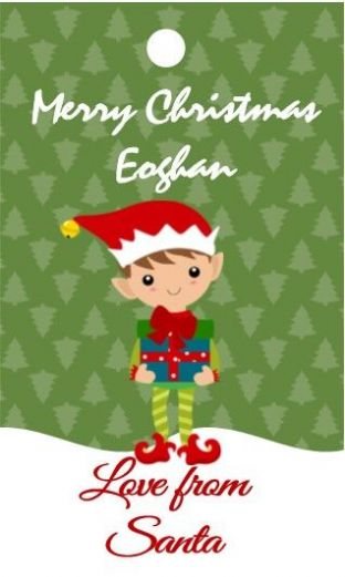 10 Large Elf Christmas Gift Sticker